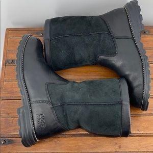UGG Shoes - UGG Brooks Black Suede Leather Boots SZ 7 BIN8